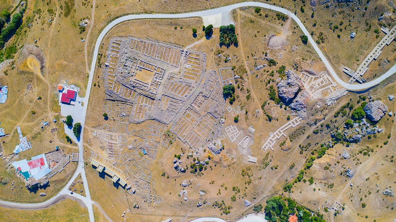 Hattusa'da bulunan Büyük Tapınağın yukarıdan görünümü